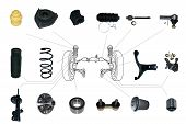 picture of suspension  - Many new Suspension and steering parts for a car - JPG