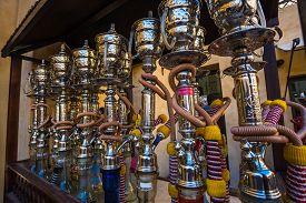 pic of shisha  - Shisha pipes hookah on the streets of the Old Town in Dubai - JPG