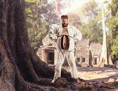 stock photo of karate  - Fat karate fighter - JPG