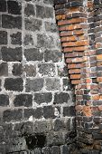 image of fungus  - Ancient stone and brick wall with fungus  - JPG