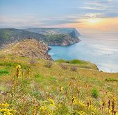 picture of crimea  - scenic cliff above the sea during sunset in Balaclava - JPG