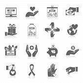 foto of teamwork  - Charity icon black set with philanthropist community teamwork symbols isolated vector illustration - JPG