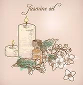stock photo of jasmine  - Illustration of jasmine essential oil and candles - JPG