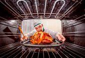 pic of chicken  - Chef prepares roast chicken  - JPG