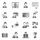 pic of personal assistant  - Personal assistant black icons set with secretary work symbols isolated vector illustration - JPG