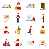 foto of flat-foot  - Food delivery by courier with truck minibus or scooter flat icons set isolated vector illustration - JPG