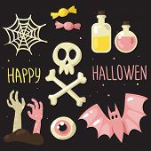 stock photo of halloween  - Pink and yellow colors Halloween symbols vector set happy Halloween card - JPG