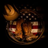 picture of cowboy  - American flag with cowboy boots - JPG