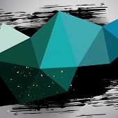 image of dab  - Vector turquoise triangle mesh motion background with grunge black dab template backdrop for poster design or  banner - JPG