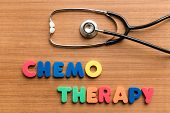 picture of chemotherapy  - Chemotherapy colorful word with Stethoscope on wooden background - JPG