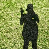 picture of waving hands  - Shadow of a woman waving her hand on grass background - JPG