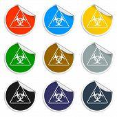 pic of biological hazard  - Vector biohazard sign or icon flat Illustration - JPG