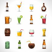 stock photo of alcoholic drinks  - Alcohol drinks polygonal icons set with beer bottle cocktail glass isolated vector illustration - JPG