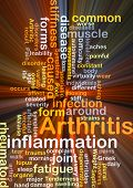 stock photo of light weight  - Background concept wordcloud illustration of arthritis glowing light - JPG
