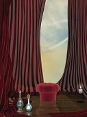 stock photo of curtains stage  - Fantasy stage with red curtain bench and bottle - JPG