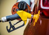stock photo of fuel economy  - Hand refilling the car with fuel - JPG