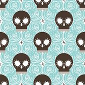 picture of blue rose  - Brown stylized skull seamless pattern with blue roses vector background illustration - JPG