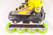 stock photo of inline skating  - Classic Style Vintage Consumed Old Roller Skate - JPG