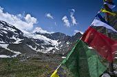 picture of tibetan  - tibetan flags in stubaital in austria during summer  - JPG