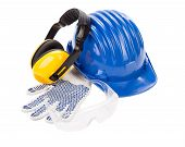 stock photo of muff  - Hard hat ear muffs and glasses - JPG