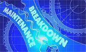 stock photo of breakdown  - Breakdown Maintenance on Blueprint of Cogs - JPG