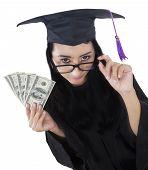 image of indian money  - Unique perspective of female bachelor holding money dollar isolated on white background - JPG