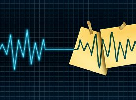 picture of flatline  - Life extension concept as a medicine and medical science symbol for slowing down or reversing the process of aging as an ekg or ecg lifeline death flatline with taped office notes extending the the lifesespan of a patient or organ donation and transplant - JPG
