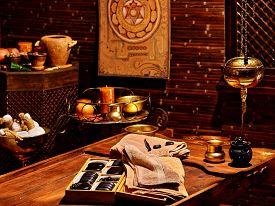picture of panchakarma  - Luxury ayurvedic spa massage interior with stones - JPG