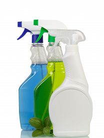 picture of trigger sprayer bottle  - Bottles of Cleaning spray isolated on white - JPG