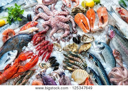 Seafood On Ice At The Fish Market Poster