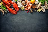 Shellfish plate of crustacean seafood with fresh lobster, mussels, oysters as an ocean gourmet dinne poster