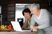 stock photo of old couple  - Portrait of a senior couple with a laptop computer - JPG