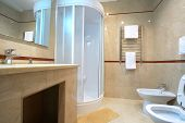 foto of shower-cubicle  - bathroom with a shower cubicle in hotel - JPG