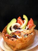 picture of mexican food  - authentic mexican salad with avacado tomato shrimp lettuce and fish  - JPG