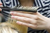 stock photo of hair cutting  - Blonde woman at hair saloon - JPG