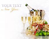 picture of new years celebration  - Champagne and Gifts - JPG