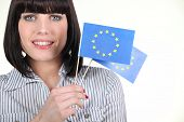 Portrait of a woman with flag of Europe poster