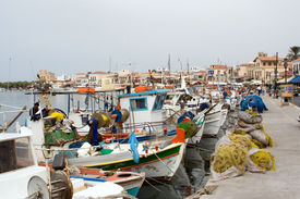 stock photo of greek-island  - scenic fish port with boats yachts nets in aegina island greece europe - JPG