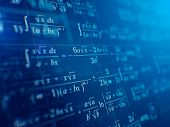 Math concept - Mathematical formulas on blue background. 3d rendering poster