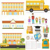 School, School Supplies, Pupils, School Bus. Flat Design, Vector Illustration, Vector. poster