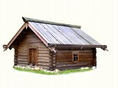 stock photo of log cabin  - OLd peasant - JPG
