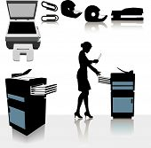 stock photo of collate  - Set of copy related office supplies copiers and office worker business person making copies - JPG