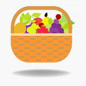 Fruit Basket Icon Apple, Orange, Bananas, Pear And Blueberry . Vector Illustration Of Basket Full Of poster