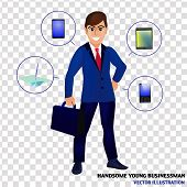 Businessman Isolated Illustration. Character Design Of Businessman. Businessman With Tools For Busin poster