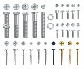 Set Of Steel Screws, Bolts, Nuts And Rivets. Top And Side View. Isolated Vector Elements. poster