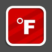 Fahrenheit icon. Flat design square internet banner. poster