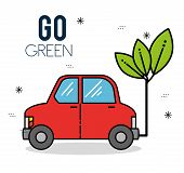 Eco Car Green Energy Ecology Environmentally Friendly Concept Vector Illustration Graphic Design poster