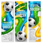 Soccer Ball Banner For Football Game Sport Club Template. Football Or Soccer Ball With Colorful Ribb poster