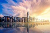 Hong Kong City Before Sunset With Victoria Peak, Hongkong Harbour And Reflection, Hong Kong, China poster