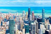 Chicago Skyline. Cityscape Of Downtown, Aerial Panorama, Illinois, Usa poster